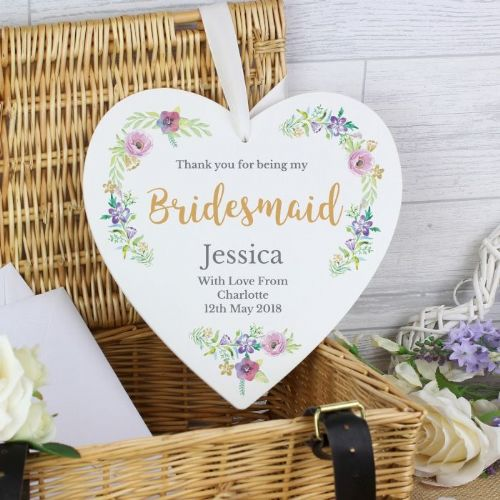 Personalised Floral Watercolour Bridesmaid Wedding Heart Decoration
